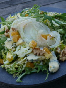 brussel sprout fennel orange blue cheese walnut salad