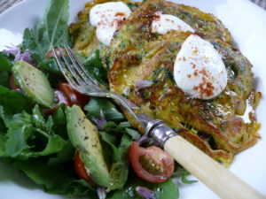 haloumi and green vegetable fritters