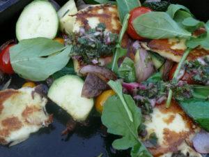 chimichirri on grilled haloumi salad