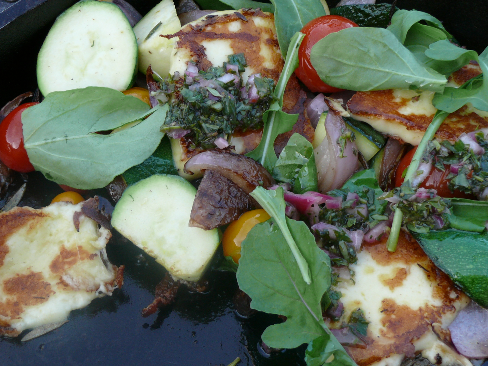 chimichirri on grilled haloumi salad