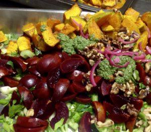 pumpkin walnut and plum salad