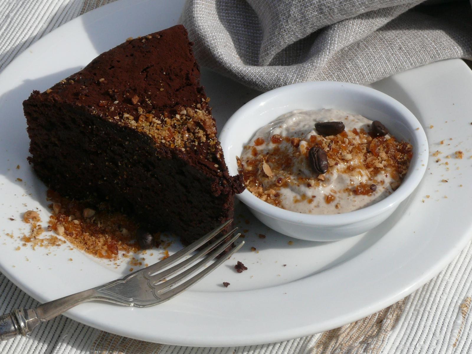 cashew cream and chocolate cake