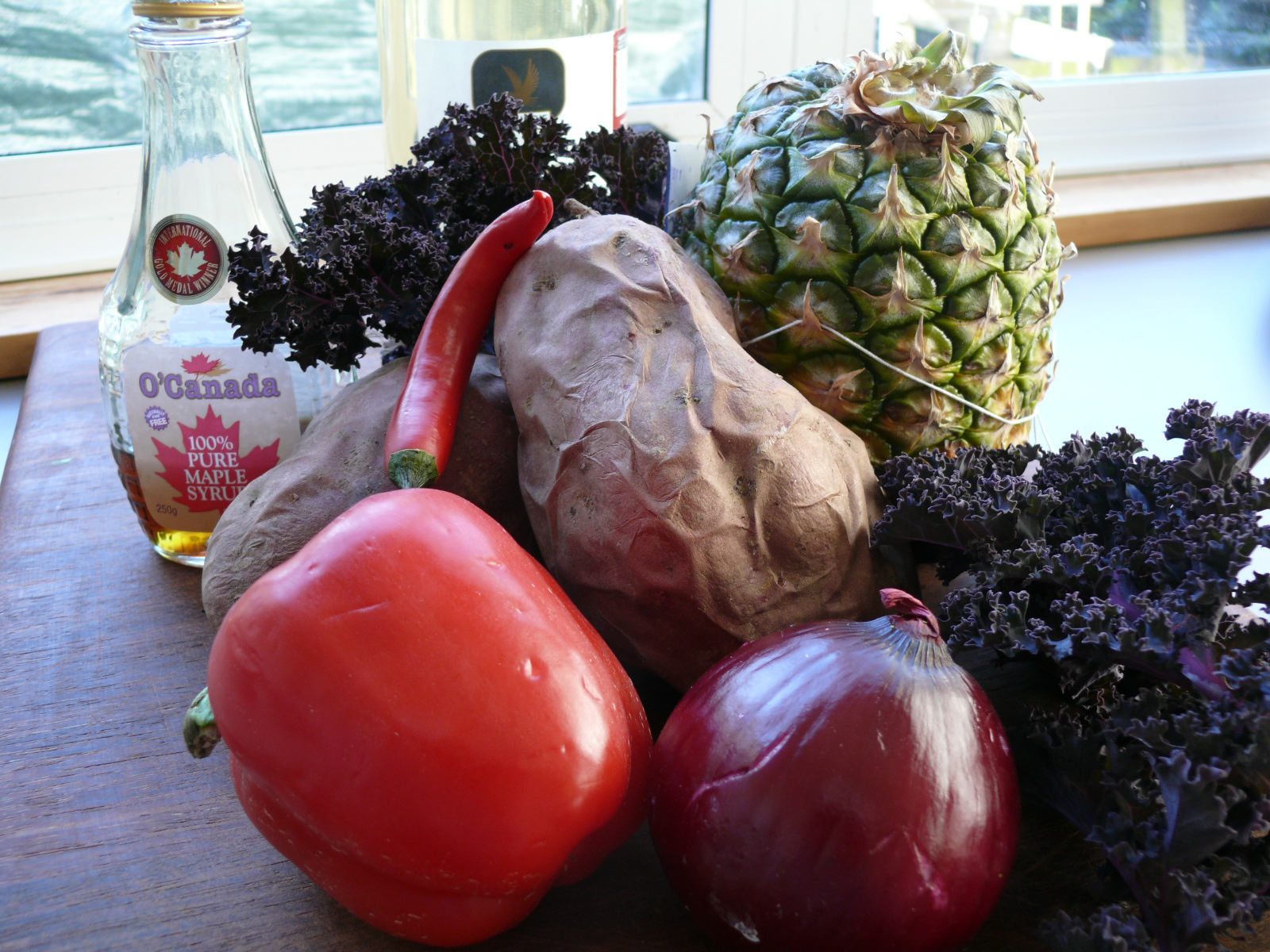 kale kumera and pineapple salad
