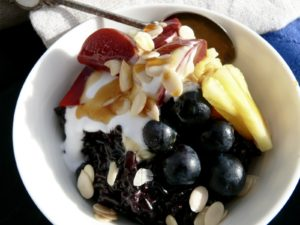 black rice and coconut breakfast