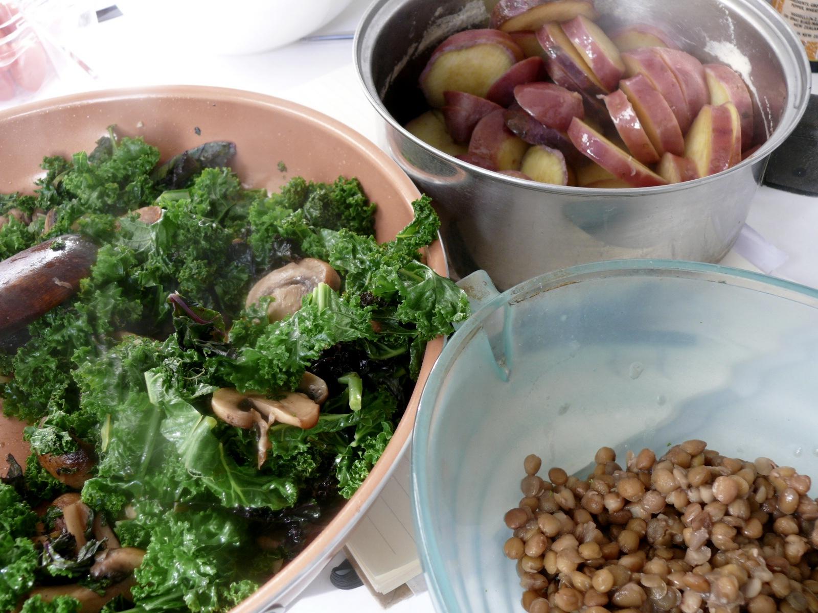 kumera mushroom and lentil bake