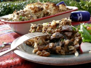 mushroom pearl barley parsnip rosti pie