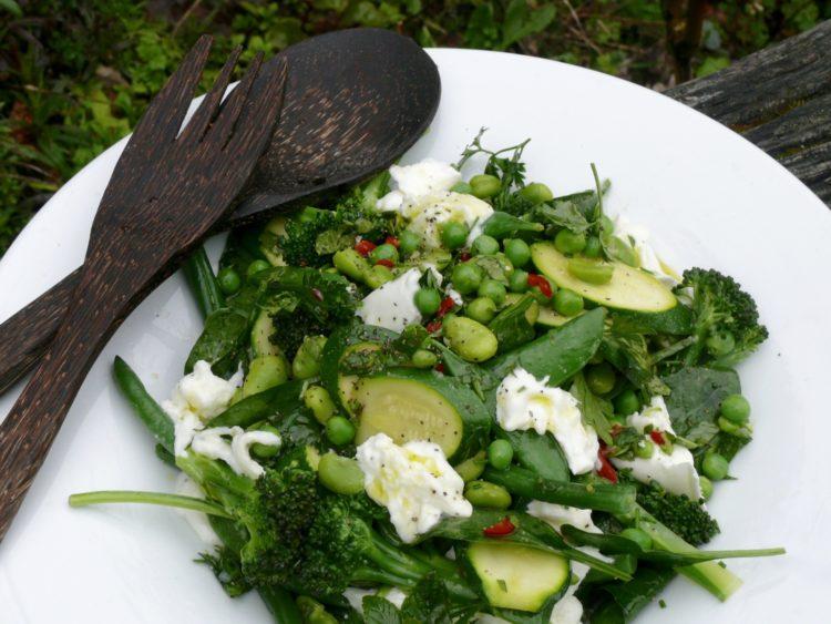 spring green and mozzarella salad