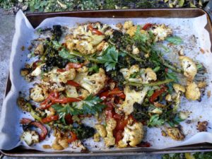 spicey cauliflower and kimchi salad