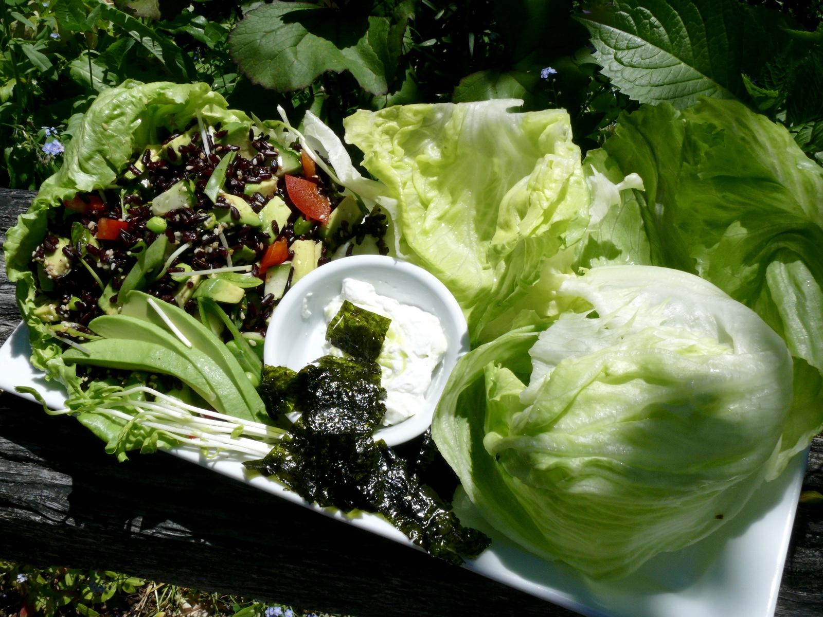 sushi salad lettuce cups