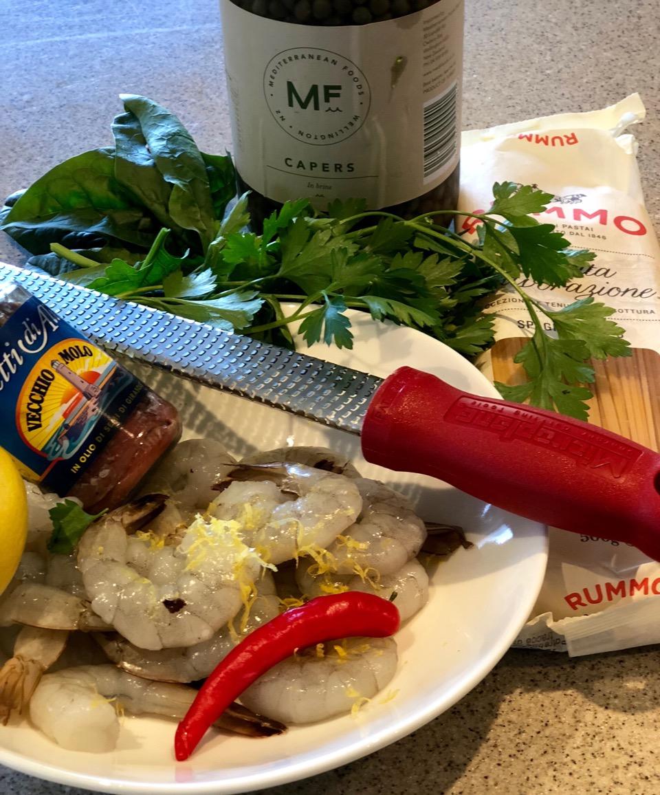 pangritata pasta prawn