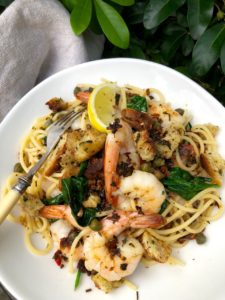 pangratata pasta and prawns