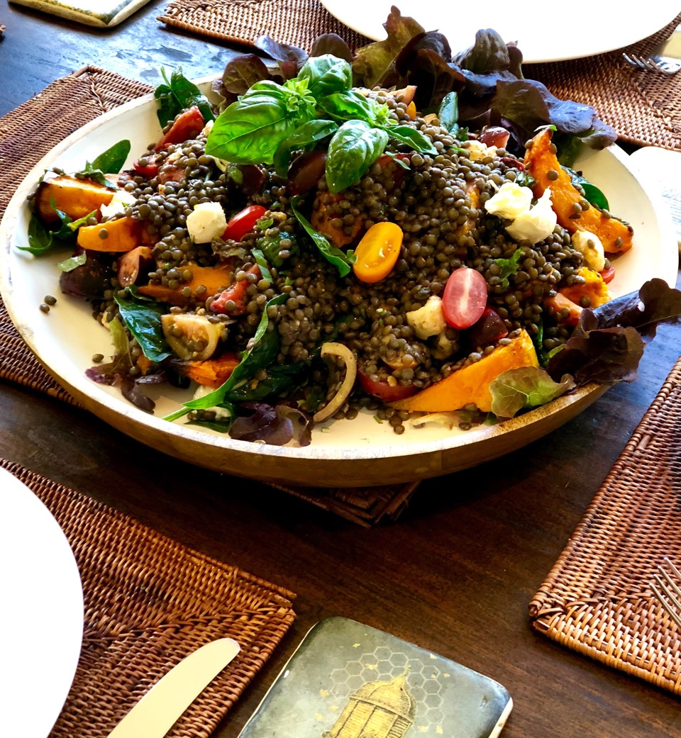 tomato, pumpkin, basil and lentil salad