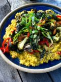DAL AND ROAST VEGETABLES WITH A CRISP AND SPICEY TOPPING