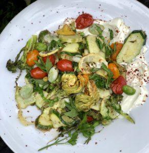 labna and char grilled vegetables