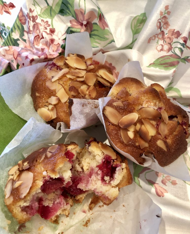 white chocolate fruit muffins